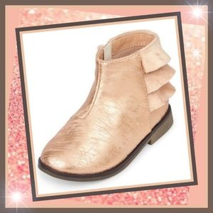 New! Toddle Faux Metallic leather & Suede Booties